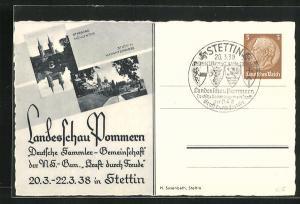 AK Stettin, Landesschau Pommern, Deutsche Sammlergemeinschaft 1938, Hakenterrasse u. Mühlentor, Ganzsache