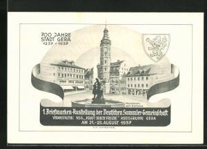 AK Gera, Marktplatz mit Rathaus, 700 Jahre Stadt Gera, 1. Briefmarken-Ausstellung 1937, KdF, Ganzsache