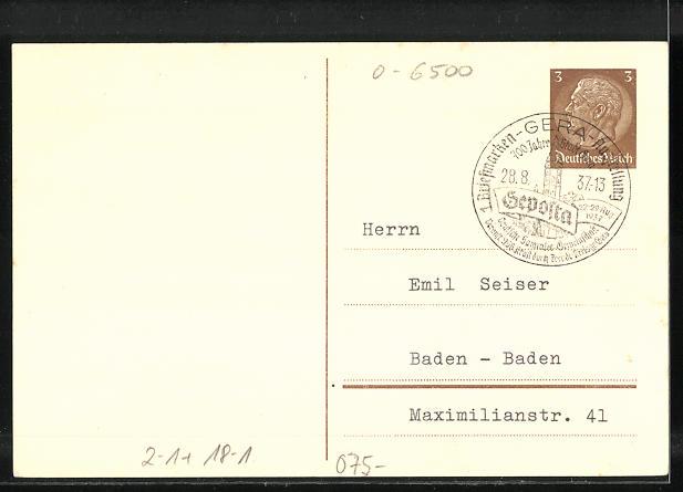 AK Gera, Marktplatz mit Rathaus, 700 Jahre Stadt Gera, 1. Briefmarken-Ausstellung 1937, KdF, Ganzsache 1