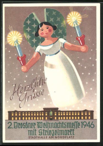 Künstler-AK Dresden-Neustadt. 2. Weihnachtsmesse 1946 mit Striezelmarkt, Stadthalle am Nordplatz 0