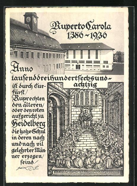 AK Heidelberg, Ruperto Carola 1386-1936, Ganzsache 0