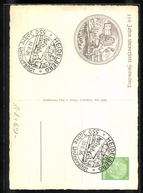 AK Heidelberg, Ruperto Carola 1386-1936, Ganzsache 1
