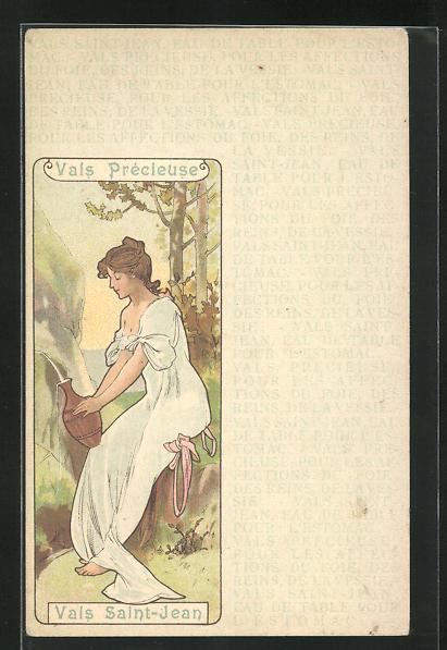 Lithographie Vals Précieuse - Vals Saint-Jean, Maid an Quelle, Jugendstil 0