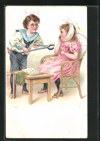 Lithographie Kinder spielen Zahnarzt 0