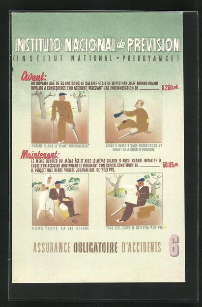AK Instituto Nacional de Prevision, Unfallversicherung, Art Deco 0