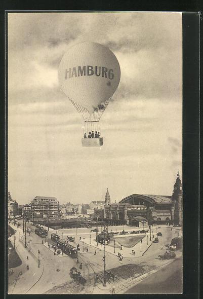 AK Hamburg, Ballon über dem Hauptbahnhof 0