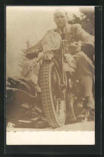 Foto-AK Norton mit Seitenwagen, Motorrad 0