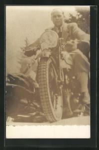 Foto-AK Norton mit Seitenwagen, Motorrad