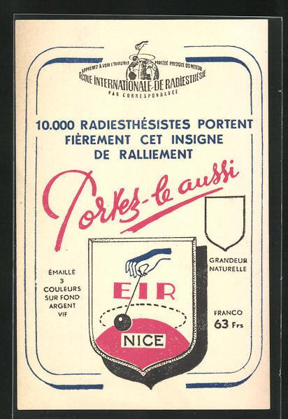 AK Nice / Nizza, École internationale Radiesthésie, Strahlenlehre, Heilpraktiker 0