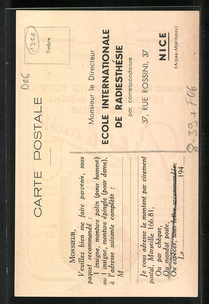 AK Nice / Nizza, École internationale Radiesthésie, Strahlenlehre, Heilpraktiker 1