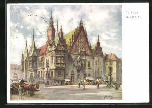 AK Breslau, 12. Deutsches Sängerbundesfest 1937, Rathaus, Ganzsache