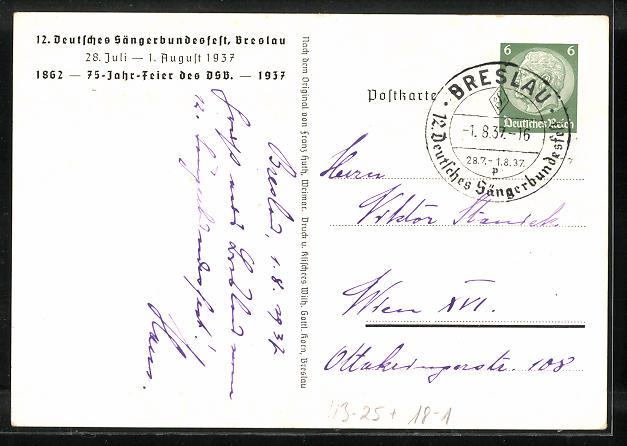 AK Breslau, 12. Deutsches Sängerbundesfest 1937, Rathaus, Ganzsache 1