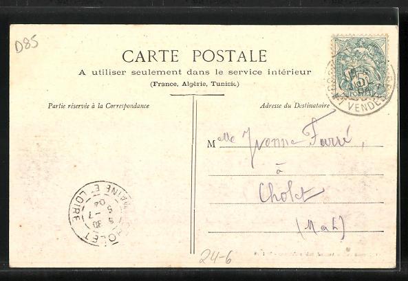 AK Les Sables-d`Olonne, Le Dundee La Mere Rousseau recevant un coup de mer, a l`entree du Port pendant la tempete 1903 1