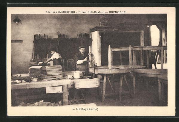 AK Grenoble, Ateliers Djoukitch, 7, Rue Sidi-Brahim, Montage, Innenansicht 0