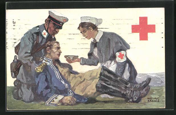 Künstler-AK Schwester des Roten Kreuzes gibt verwundetem Soldaten Wasser 0
