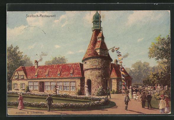 AK Hamburg, 16. Deutsches Bundesschiessen 1909, Seefisch-Restaurant 0