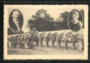 AK Zirkus Krone, Portraits C. Krone u. J. Krone, Elefanten in einer Reihe