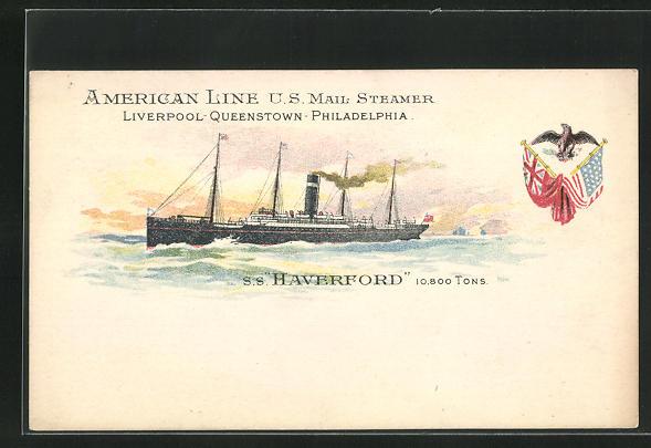 Lithographie Passagierschiff S. S. Haverford vor der Küste 0