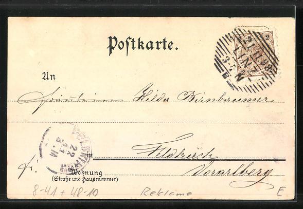 Lithographie Oberbayern, Reklame für Franck Caffee-Zusatz, Kaffeemühle, Mann u. Frau in Trachten 1