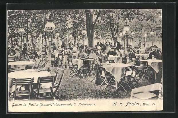 AK Wien, Garten in Pertl`s Grand-Etablissement, K. k. Prater 0