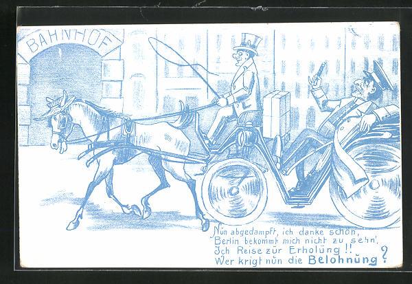AK Berlin, Bahnhof u. Hauptmann von Köpenick in einer Kutsche 0