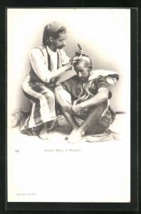 AK Barbier, Maure et Mozabite, Friseur rasiert Kunden den Kopf, Arabische Typen