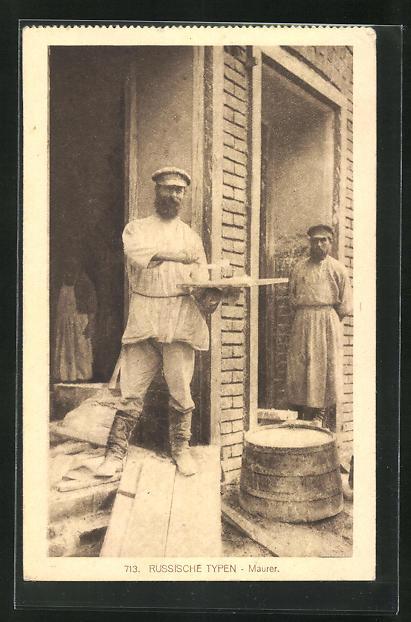 AK russischer Maurer auf der Baustelle in Arbeitskleidung 0