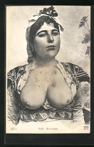 AK Belle Mauresque, arabische nackte Frau mit Kopftuch 0