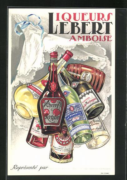 AK Reklame für Liquers Lebet Amboise, verschiedene Flaschen 0
