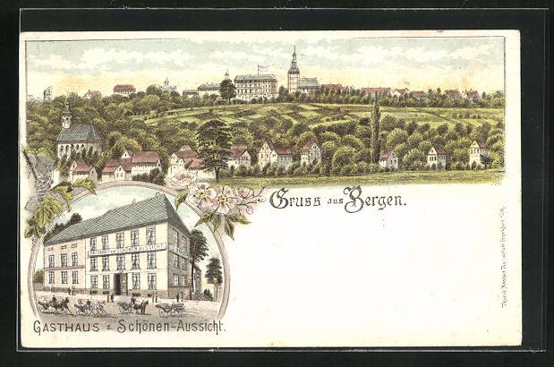 Lithographie Frankfurt-Bergen-Enkheim, Gasthaus zur Schönen Aussicht 0