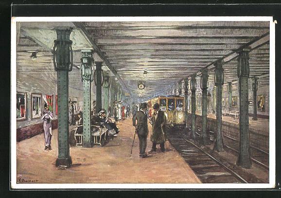 Künstler-AK F. Beckert: Berlin-Charlottenburg, Bahnhof Bismarckstrasse der Berliner Hoch- und Untergrundbahn 0