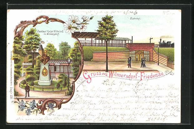 Lithographie Berlin-Wilmersdorf-Friedenau, Bahnhof, Denkmal Kaiser Wilhelm I. 0