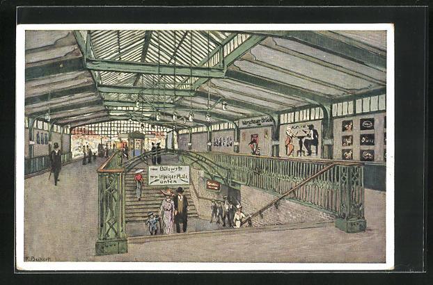 Künstler-AK F. Beckert: Berlin-Kreuzberg, Bahnhof Gleisdreieck der Berliner Hoch- und Untergrundbahn 0