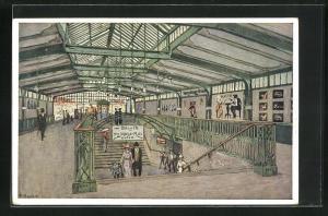 Künstler-AK F. Beckert: Berlin-Kreuzberg, Bahnhof Gleisdreieck der Berliner Hoch- und Untergrundbahn
