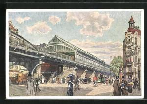 Künstler-AK F. Beckert: Berlin-Prenzlauer Berg, Bahnhof Danziger Strasse der Berliner Hooch- und Untergrundbahn
