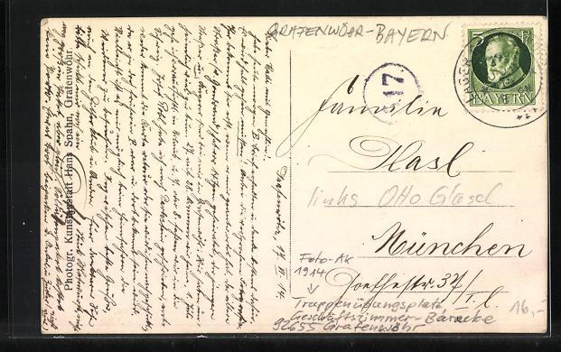 Foto-AK Grafenwöhr, Truppenübungsplatz, Geschäftszimmer-Baracke, 1914 1