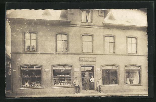 Foto-AK Gettorf, Geschäft J. H. Johannsen, 1921 0
