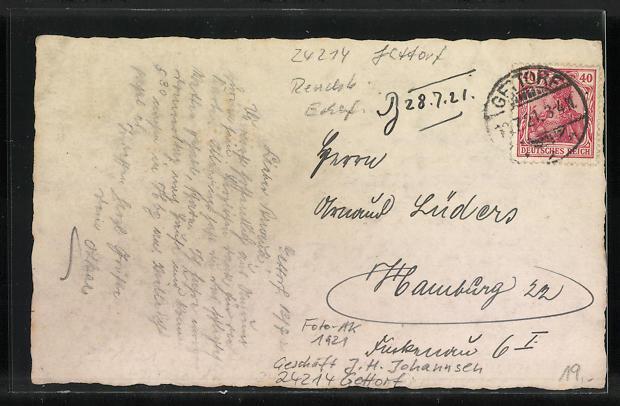 Foto-AK Gettorf, Geschäft J. H. Johannsen, 1921 1