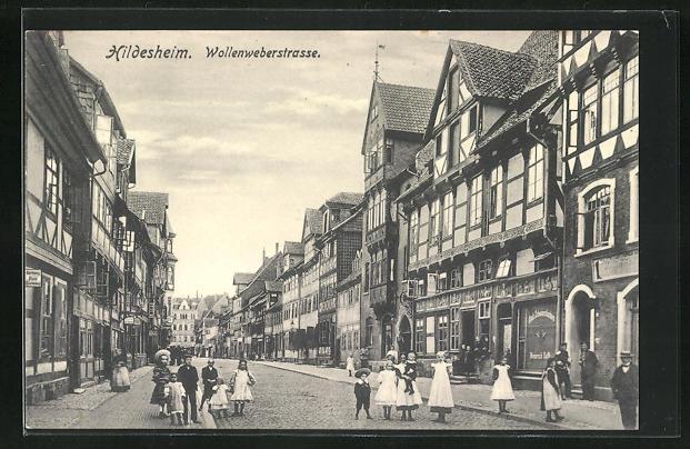 AK Hildesheim, Blick in die Wollenweberstrasse 0