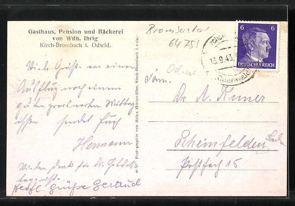 AK Kirch-Brombach im Odenwald, Gasthaus und Bäckerei von W. Ihrig mit Saalbau, Ortsansicht 1