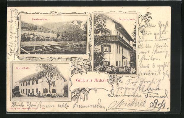 AK Grafenaschau, Gasthaus zu Aschau, Ferienkolonie 0