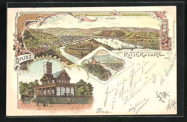 Lithographie Koblenz, Gasthaus zum Rittersturz, Panorama 0