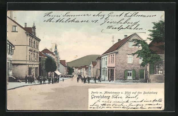 AK Gevelsberg, Mittelstrasse mit Blick auf den Buchenberg 0