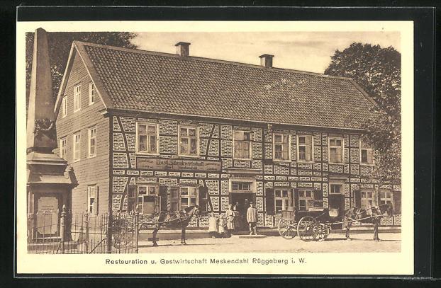 AK Rüggeberg i. W., Gasthaus Meskendahl, davor Kutschen 0