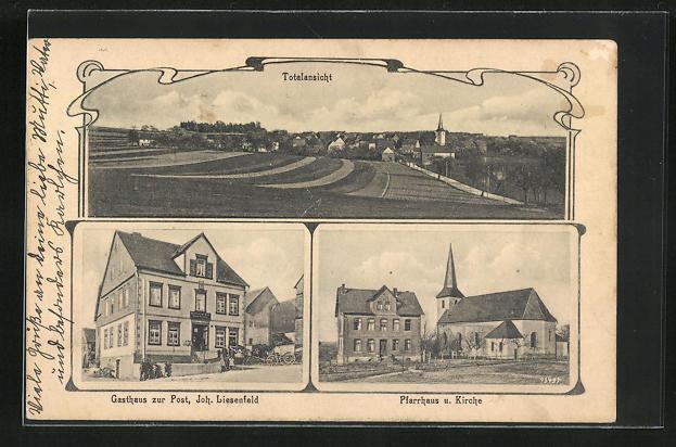 AK Halsenbach, Gasthaus zur Post, Pfarrhaus und Kirche 0