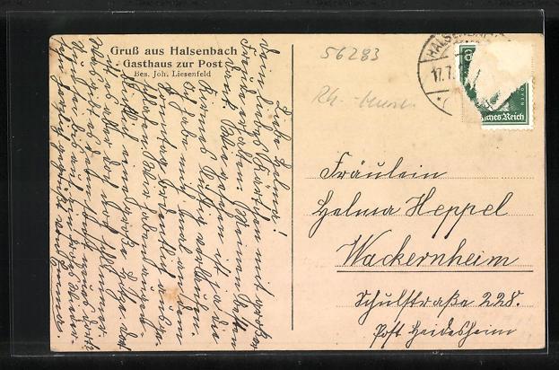 AK Halsenbach, Gasthaus zur Post, Pfarrhaus und Kirche 1