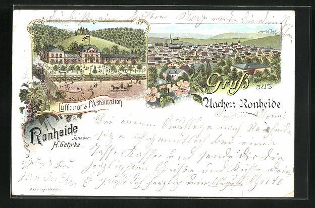 Lithographie Aachen, Gasthaus Ronheide, Panoramablick auf die Stadt 0