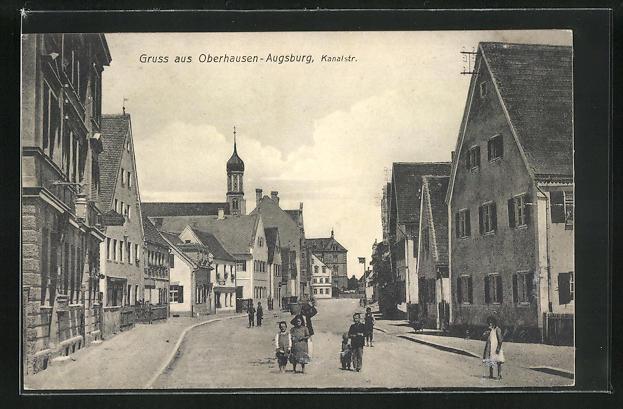 AK Oberhausen-Augsburg, Blick in die Kanalstrasse 0
