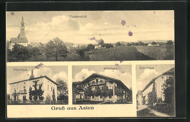 AK Asten, Gasthaus, Schule, Pfarrhaus, Ortsansicht 0