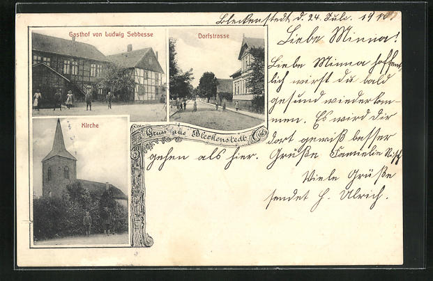 AK Bleckenstedt, Gasthof von Ludwig Sebbesse, Kirche, Dorfstrasse 0